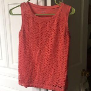 Tangerine Orange lace front sleeveless top